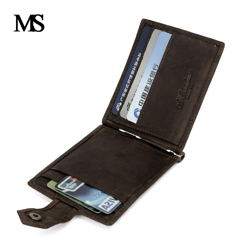 MS 2018 New Genuine Leather Mini wallet Men Zipper Coin Pocket Dollar money clip vintage Real Leather Men wallets TW1664