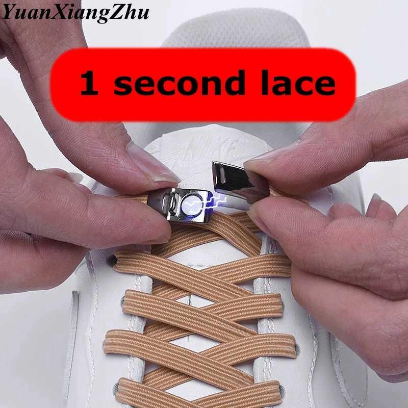 Yeni elastik manyetik kilitleme ayakabı hızlı hiçbir kravat ayakkabı bağcıkları çocuklar yetişkin Unisex ayakkabı bağı Sneakers ayakkabı danteller dizeleri