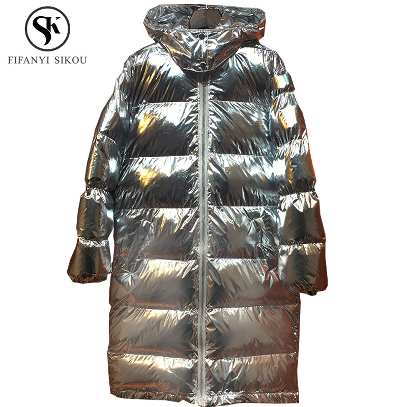 505d5cdd16a Winter jacket women Fashion Silver Cotton padded coat Long Parka for womens  Hooded Coats Warm parkas Loose Plus size Outerwear