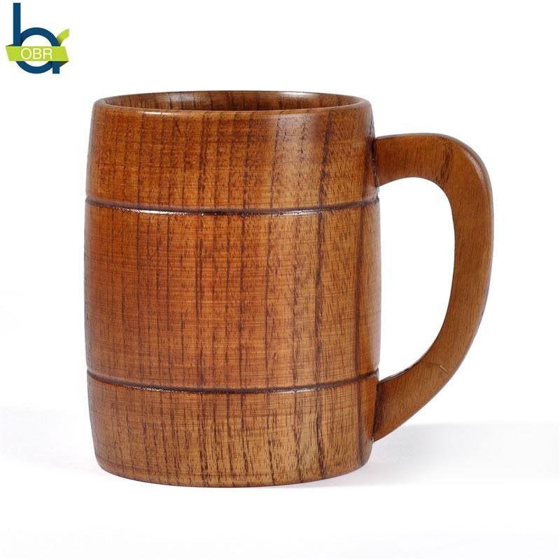 OBR Barrel Shape Wood Beer Mug Coffee Milk Tea Water Sippy Cup Creative Cute Funny Glasses Personalized Gift Bar Drinkware