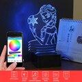 Elsa/Anna 3D Música Luz Da Noite Dos Desenhos Animados Candeeiro de Mesa Led Bluetooth Speaker Controle Remoto Iluminação Novidade Presente de Natal para criança