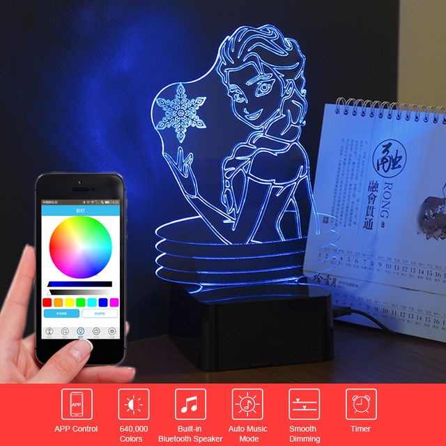 Elsa/Anna 3D Music Night Light Cartoon Led Table Lamp Remote Control Bluetooth Speaker Novelty Lighting Christmas Gift for Child