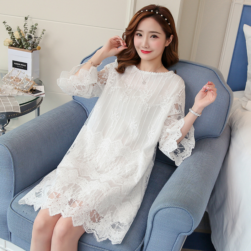2018 New maternity dresses summer new lace pregnant women dress temperament flared sleeves plus size white pregnancy clothes