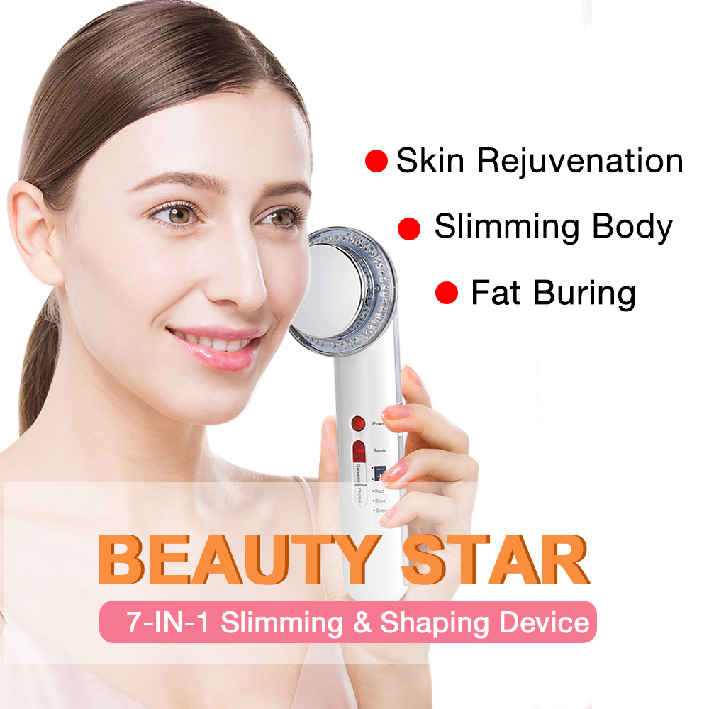 Beauty Star 7-in-1 Ultrasound EMS Body Slimming LED Photon Cavitation Therapy Face Massager Galvanic Burn Fat Anti Cellulite