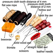 14 Pcs Wood Awl Waxed Thimble Needle Scissor Sewing Leather Craft Tools Kit