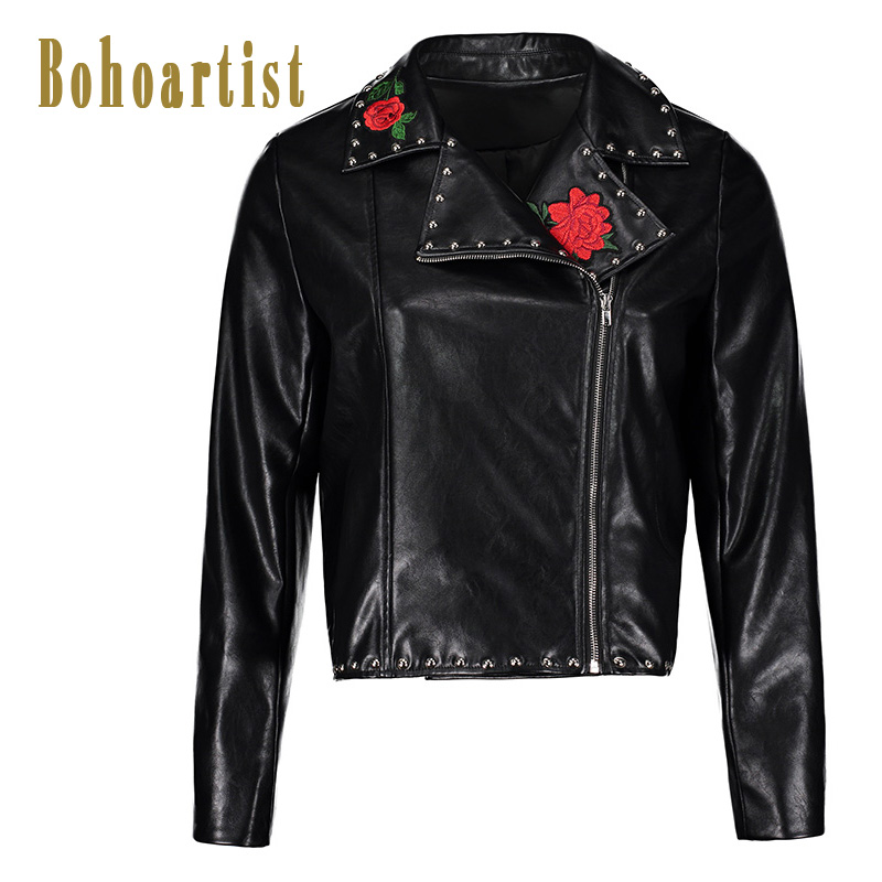 Bohoartist Women Faux Leather Jacket Coat 2018 Autumn Black Embroidery Rose Coat Female Plus Size Luxury PU Jacket Daily New