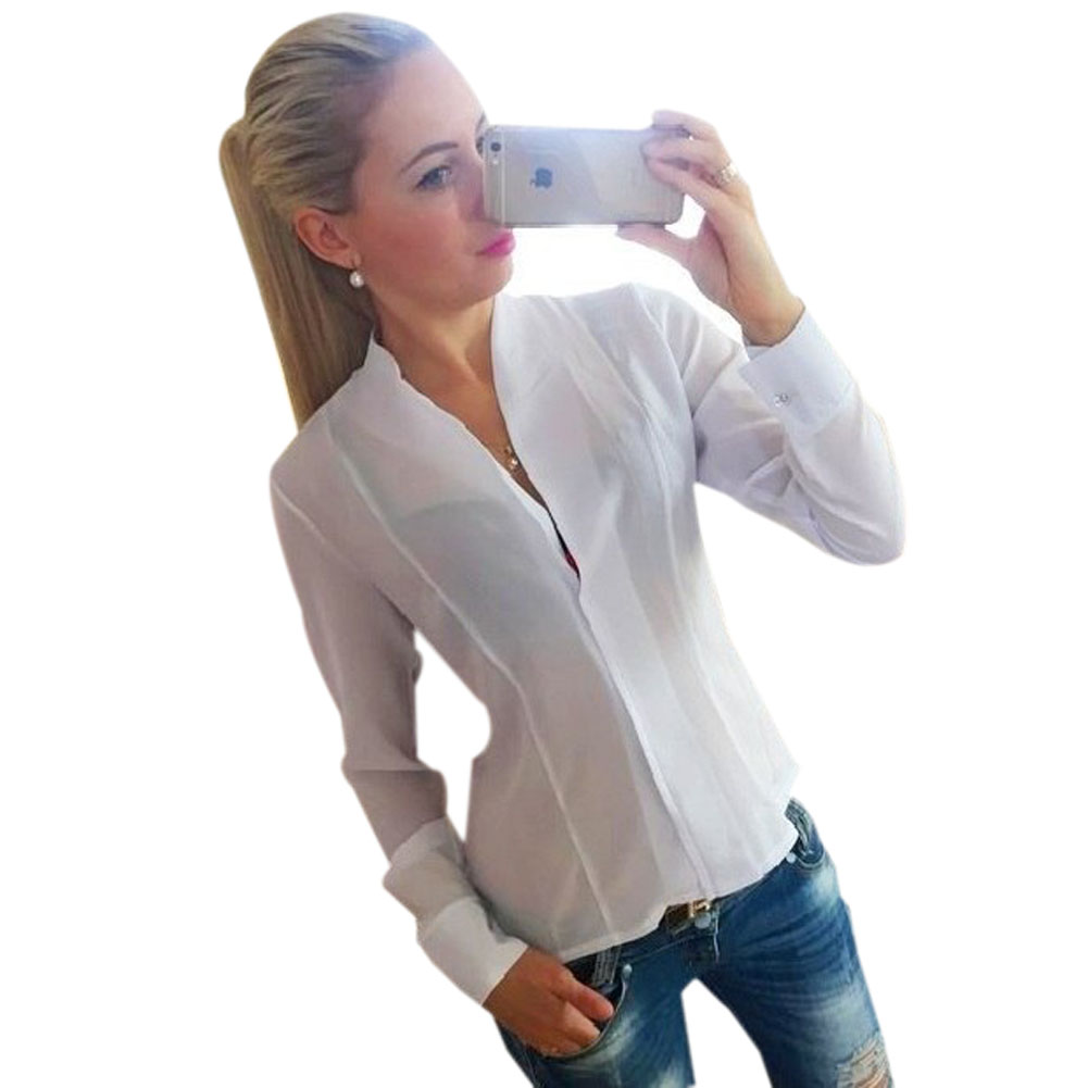 Popular Long Sleeve Shirt Women Blouses Tops V Neck Open Black White  SS84