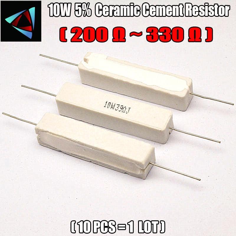 10pcs 10W 5% 200 220 240 300 330 ohm R Ceramic Cement Resistor / Resistance Passive Component