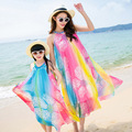 Family Look 2017 Matching Mother And Daughter Dress Patchwork Fashion Summer Dress Sleeveless Beach Dress Family Clothing