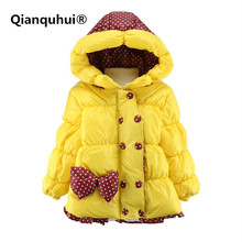 Фотография Qianquhui New Hot Winter Toddler Baby Girls Bowknot Kids Warm Cotton Coat Jacket Outwear Clothing