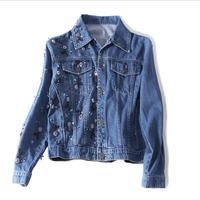2019 spring 100% cotton denim jackets with diamond beading stiching female high quality luxury Embroidery beading jackets wq748