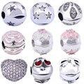 925 Clipe De Prata Encantos Bead para Pandora DIY Acessórios 1 peça AAA Cristal Aberto S925 Grânulos de Prata Esterlina para Fazer Jóias charme