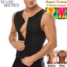 WAIST SECRET Mens Neoprene Slimming Waist Trainer Vest Body Shaper Sauna Sweat Suits for Weight Loss Zipper Tank Top
