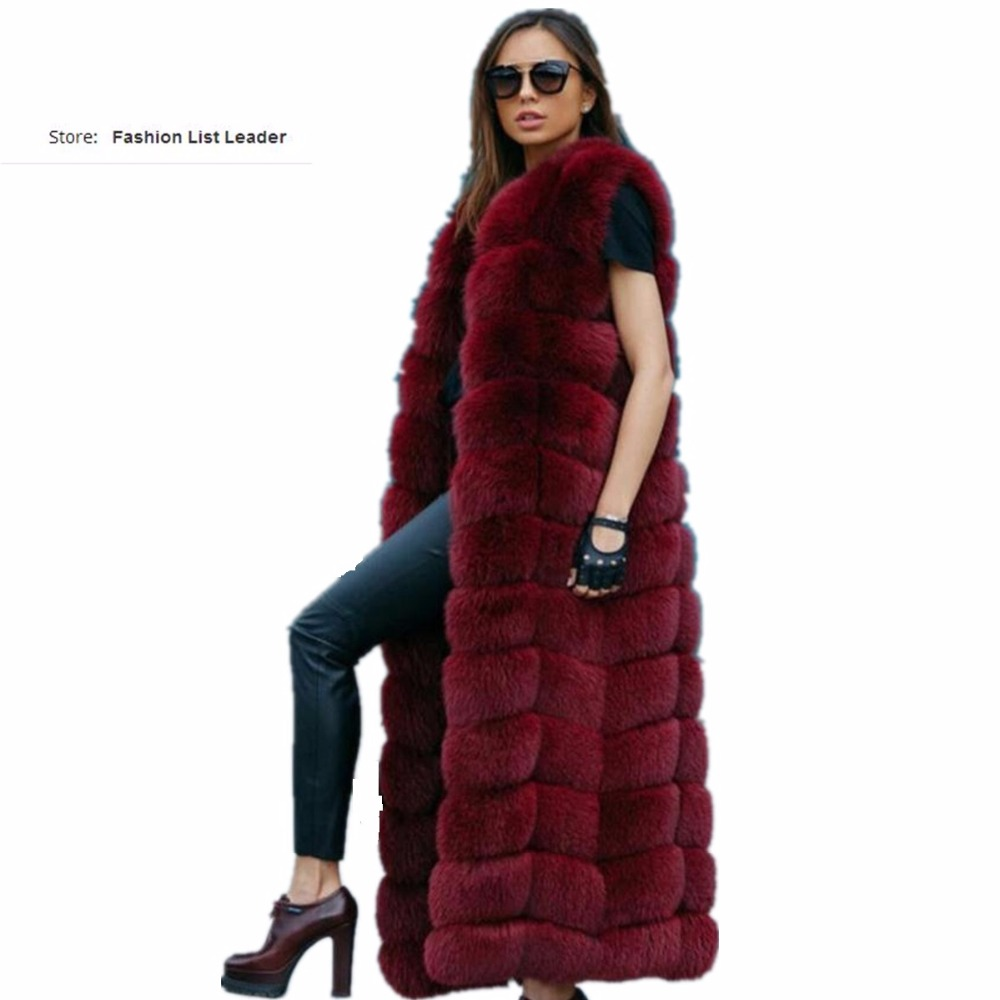 10steps 120cm Super Long Fur Vest Winter Women Luxury Faux Fox Fur Vest Furry Slim Woman Fake Fur Vest Plus Size Faux Fur wj1342 curved faux fur vest