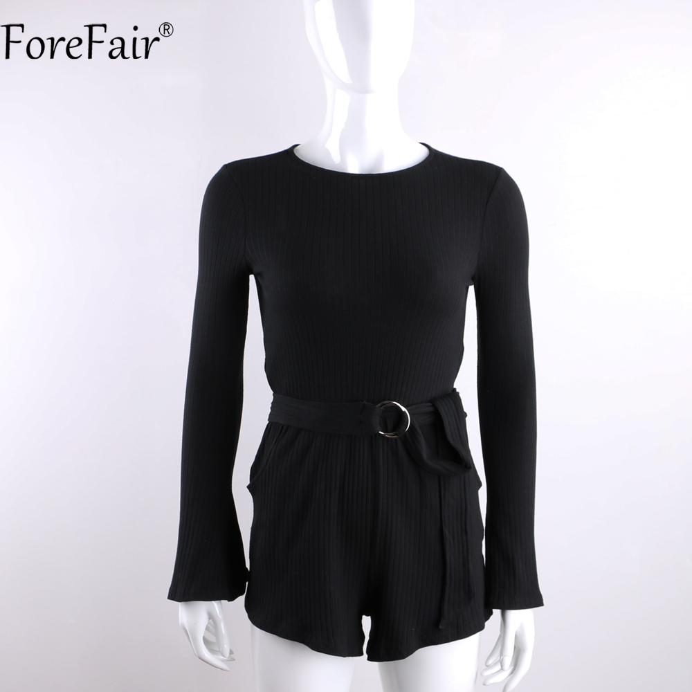 2329232bebc ForeFair Sexy Open Back Belted Playsuit Black Knitted Stripped High Fashion  Short Jumpsuit Flare Sleeve Slim Women Romper-in Rompers from Women s  Clothing ...