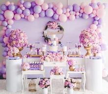 METABLE 100 Pcs 12/10 Inch Light Pink  and Purple Gold Metallic Balloons for Disney Princess Party Supplies