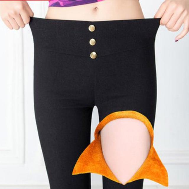 Women's autumn 2016 plus velvet thickening legging black skinny pants winter thermal long trousers