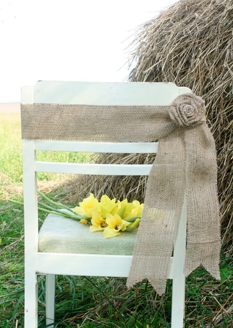 6pcs Lot Rustic Wedding Chair Burlap Jute Decorative Bow Simple Rose Decoration DIY