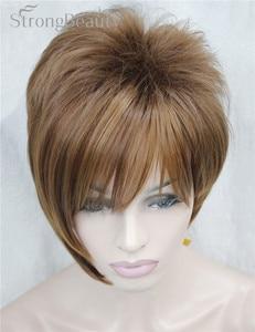 Image 4 - 強力な美少女合成天然ウェーブ短辺部ブロンドかつら前髪とスマートヘアスタイル若い女性のためのコスプレかつら