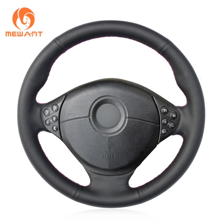 MEWANT Black Artificial Leather Car Steering Wheel Cover for BMW E39 5 Series 1999-2003 E46 3 Series 1999-2005 E53 X5 E36 Z3