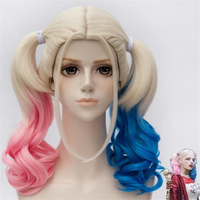 Suicide Squad Harley Quinn Cosplay Halloween Parties Wigs Headgears Accessories Free Shipping High Quality