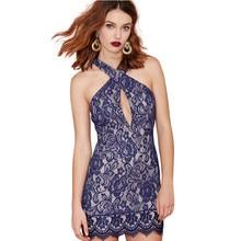 Sexy Dress Club Wear Floral Lace Dress Plus Size Slim Bodycon Halter Off The Shoulder Womens Dresses Party Dresses 2017 Hot Sale