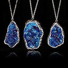 цены на 3UM Rhinestone Stone Necklace For Women Men Natural Stone Necklace Irregular Stone Pendant Necklace Lovers Gift Drop Shipping  в интернет-магазинах
