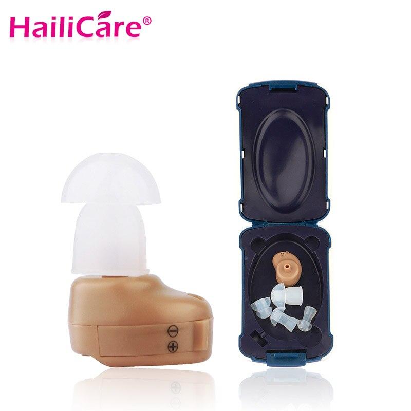 Mini audífono en el oído de mejora de sonido digital invisible sordos Sonido Volumen Amplificadores ayuda del oído ajustable del tono del enchufe