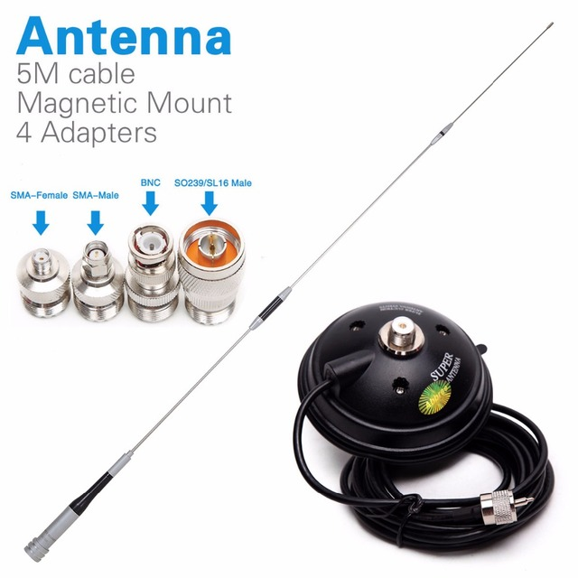 Diamant SG 7500 Dual Band Antenne + Magnetische Mount + SMA F/SMA M/Bnc/SL16 4 Adapters Voor Baofeng UV 5R Walkie Talkie Mobiele Radio
