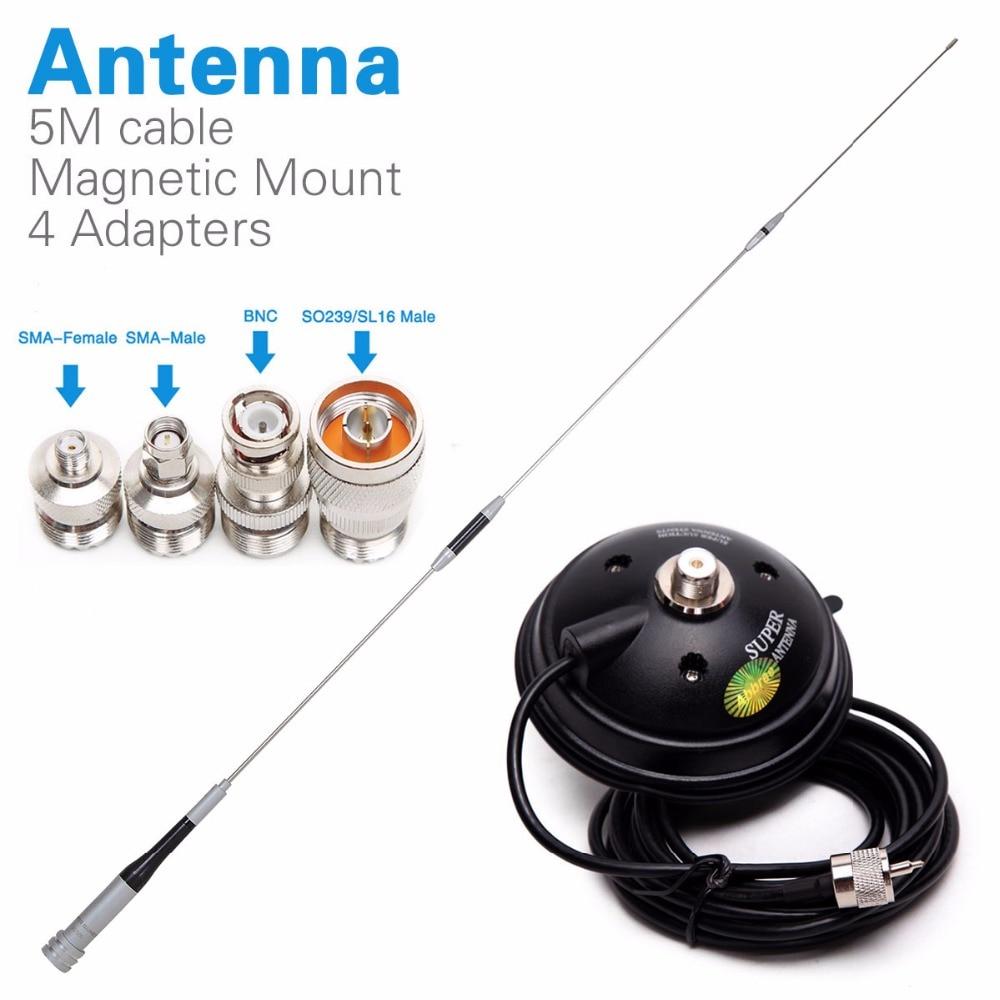 Diamond SG-7500 Dual Band антенна + магнитное крепление + SMA-F/SMA-M/BNC/SL16 4 адаптеры для Baofeng UV-5R Walkie Talkie мобильного радио
