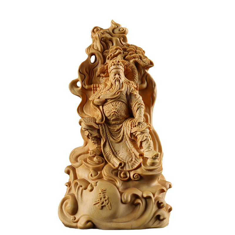 wood guanyu Chinese Mars figures decoration feng shui carving sculpture chinese statues for