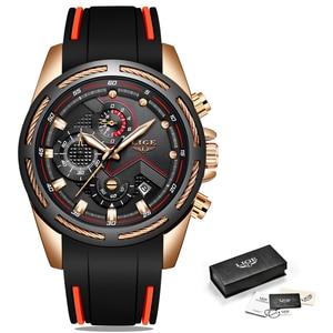 Image 5 - LIGE 패션 남성 시계 톱 브랜드 럭셔리 실리콘 스포츠 시계 남자 석영 날짜 시계 방수 손목 시계 Relogio Masculino