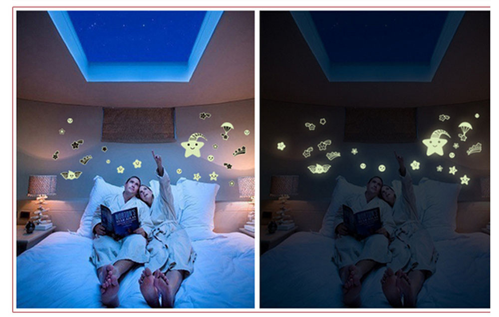 2018 Cartoon cute stars Home Decals Decor Glow In The Dark Wall Sticker Meteor Shower room decoration #0525