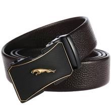 NEW Mens Leather Ratchet Dress Belt with Automatic Buckle Width:35mm Fashion Belts for Removable Buckles