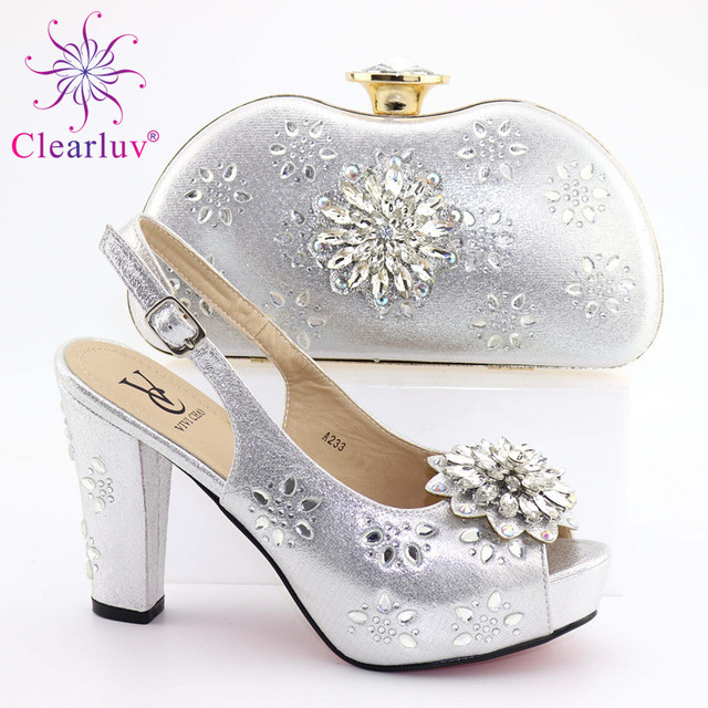New Arrival Italian Shoes with Matching Bags High Quality Gold Italian Shoe Bag Set Nigerian Women Wedding Shoes and Bag Sets