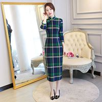 New Arrival Chinese Style Long Cheongsam Women S Cotton Polyester Qipao Elegant Slim Dress Vestido Size