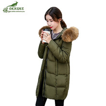 Winter new Down cotton Outerwear women's medium long White duck down Jacket coat women hooded slim warmer coat clothing OKXGNZ