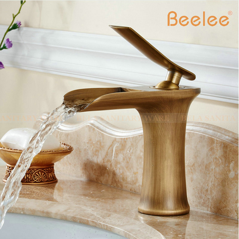 Beelee Bathroom Faucet Antique and White color Waterfall Faucet Hot ...