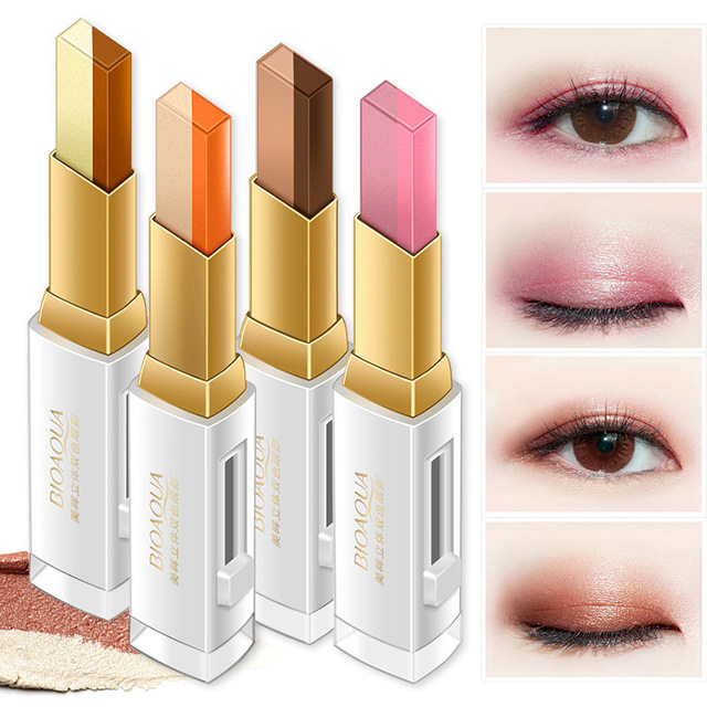 Double Color Eyeshadow Stick Stereo Gradien Shimmer Color Eye Shadow Cream Pen Eye Makeup Palette Cosmetics Smooth Makeup Pencil