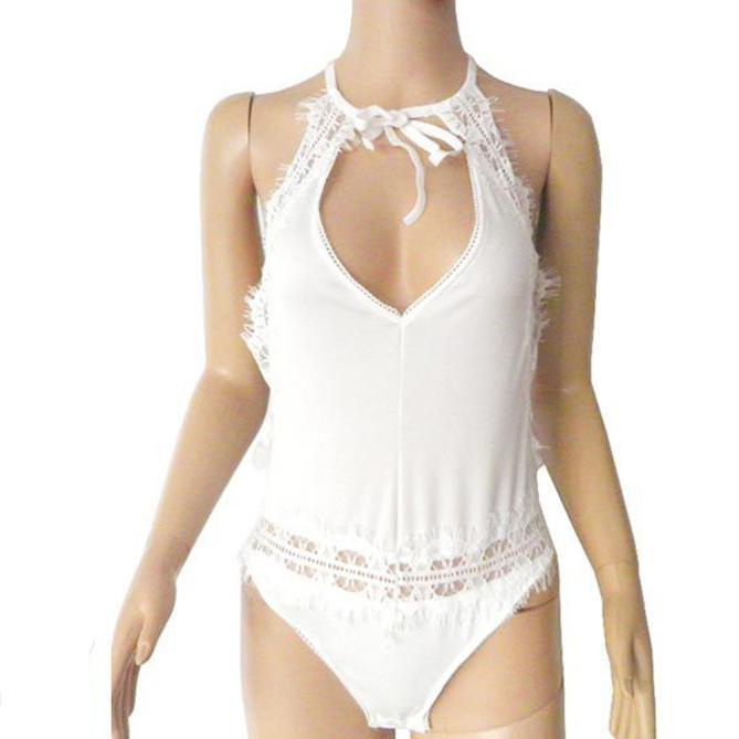 New Sleeveless Bandage Jumpsuits Backless Summer Beach Fashion Women Pajamas Sexy Lace Backless Jumpsuit Swimsuit Bodysuit