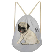 ThiKin 3D Pug Dog Printed Casual Unisex School Bag Women Drawstring Bags Female String Polyester Bag