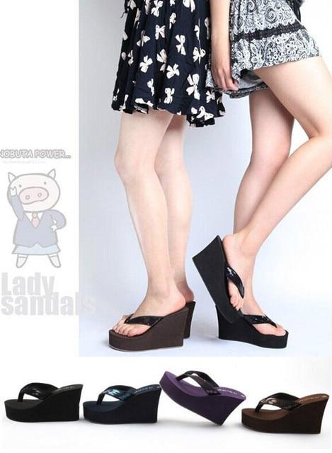 7ad72567b328aa New Summer Women s Slippers Ultra High Heels Beach Slippers Bling Wedges  Platform Sandals Flip Flops Women Sexy Shoes