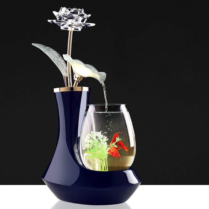 110/220V Wine Cabinet Creative Crystal Lotus Water Fountain Decoration Feng Shui Glass Fish Tank Craft Desktop Decor Friend Gift