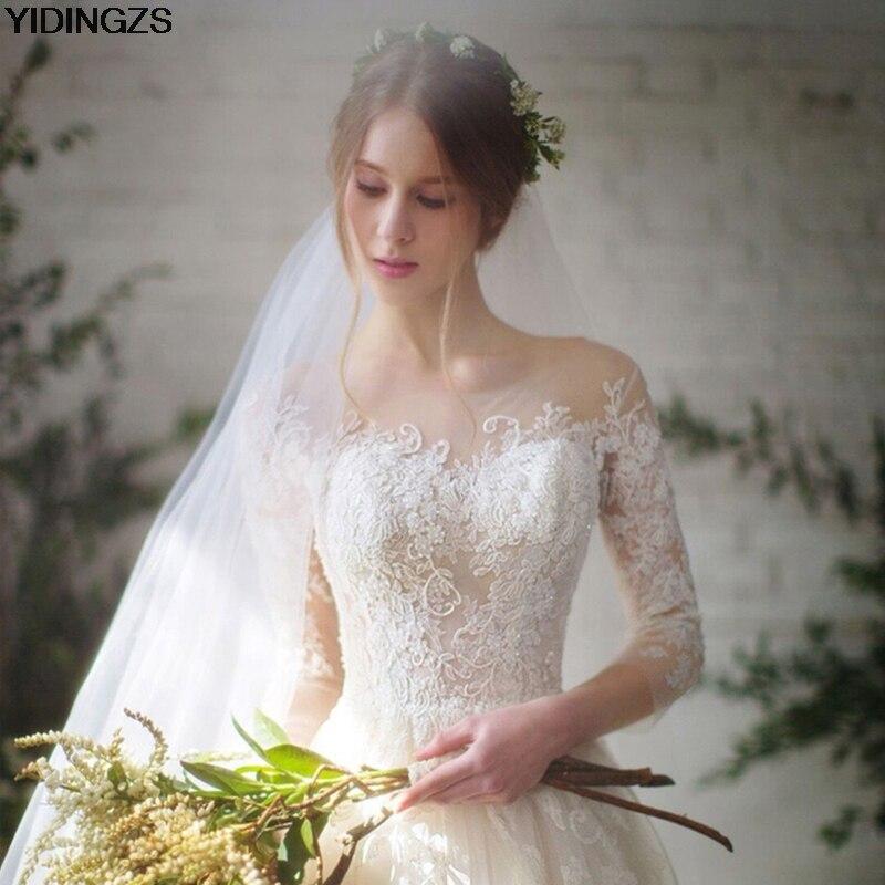 YIDINGZS Réel Simple Appliques Robe De Mariée 3/4 Manchon lacets Dos Mariée Mariage Robe 2018