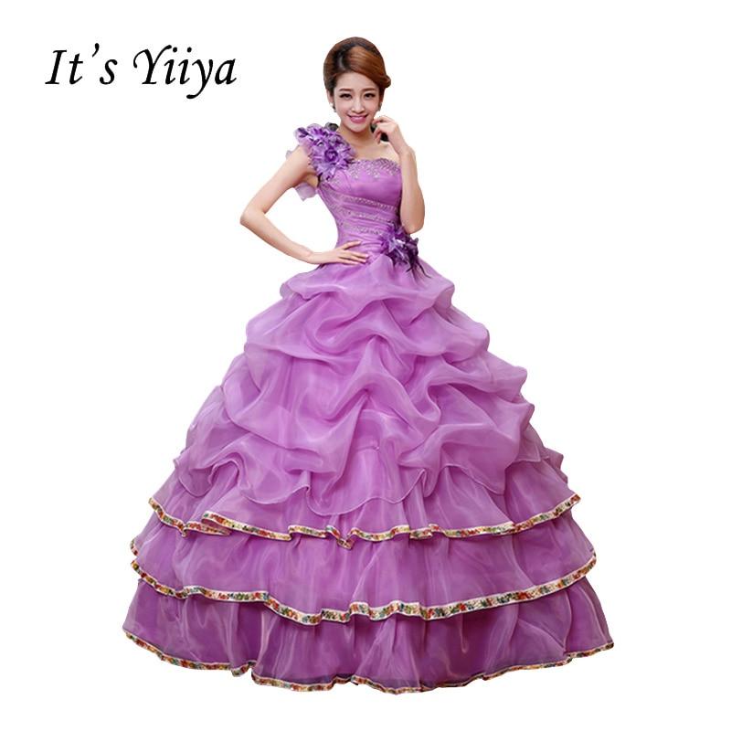 New Strapless One Shoulder Wedding Dresses Purple Ball Gown Floor ...