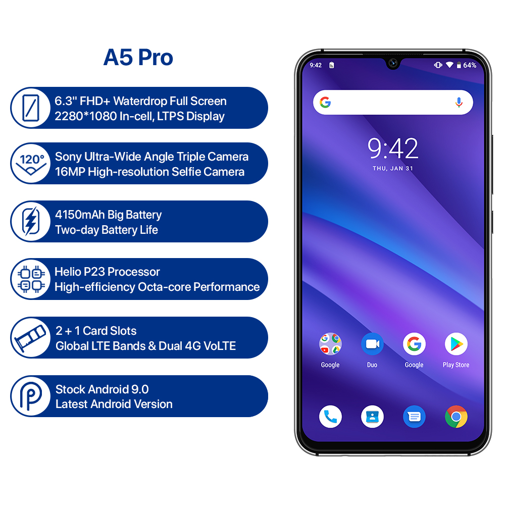 Version mondiale UMIDIGI A5 PRO Android 9.0 Octa Core 6.3 'FHD + Waterdrop 16MP Triple caméra 4150mAh 4GB RAM 4G Smartphone celulaire - 3