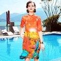 A10zt377-2 atacado europa e nos estados unidos 2017 primavera verão mulheres dress couture elegante 100% de seda a-line dress