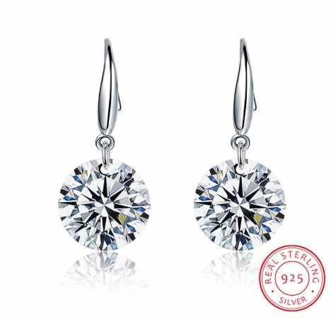Authentic Fashion jewelry S925 Sterling silver Earrings Female Crystal from Swarovski New Woman earrings Twins micro set