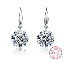 Authentic Fashion jewelry S925 Sterling silver Earrings Female Crystal from Swarovski New Woman earrings Twins micro set(China)