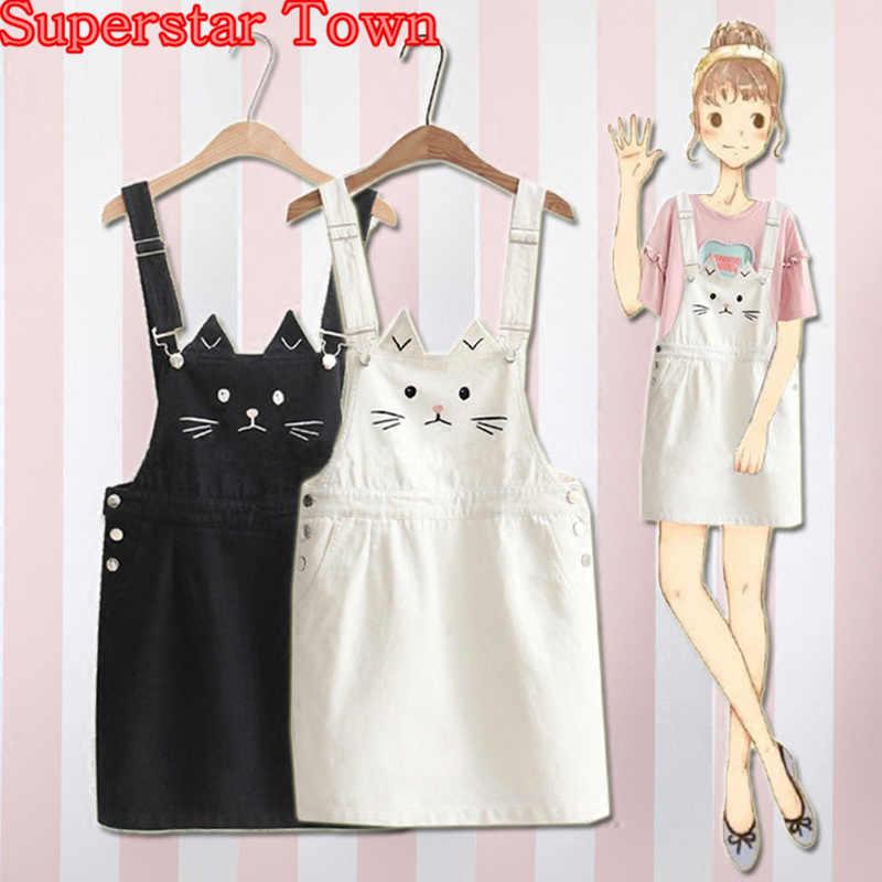 6e6bc31b80 Summer Suspenders Dress Cat Embroidery Spaghtti Strap Denim Dress Cute  Sweet Vestido Harajuku Mori Girl Sweet
